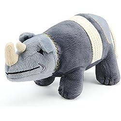 Pro Goleem Juguete de peluche para mascotas con forma de rinoceronte, resistente, suave y con sonido.