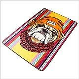 WUCONG Retro Kunst Teppich Hit Farbe Europäischen und Amerikanischen Stil Hund Wohnzimmer Bodenmatte Tisch Pad Schlafzimmer Bett Sofa Rutschfeste Pad (Farbe : A)