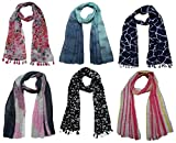 #1: FusFus Printed Designer Poly Cotton Set of 6 Mullticoloured stoles ; Trendy scarf stoles dupatta for Girls/Ladies/Women (F0168)