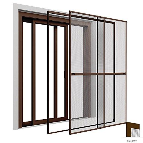 Insektenschutz Doppelschiebetür 230 x 240 cm Premium Fliegengitter Tür mit Klemmzarge Insektenschutztür zum Klemmen Montage ohne Bohren Länge kürzbar Farbwahl, Farbe:Braun