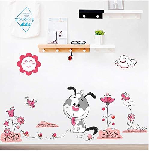 et puppy blume wandaufkleber für kinderzimmer wohnkultur wandtattoos pvc wandbild kunst diy poster 53 * 83 cm ()