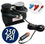 Mini compressore nero 12 volt 250 PSI con presa accendisigari per auto moto camper campeggio piccolo leggero e portatile mws
