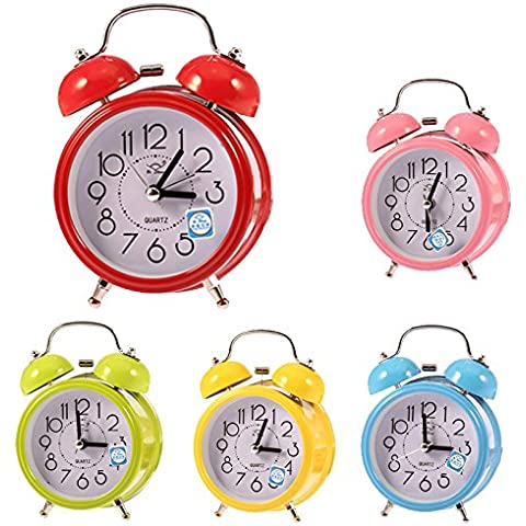 ReadiMax (TM) Moda Mini Despertador De despertador de cuarzo pequeño double-bell Luz de noche Niños Colorful # EE