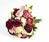 artplants - Künstlicher Ranunkelstrauß mit 18 Blüten, pink-rosa-weiß, 30cm, Ø 25cm - Blumenstrauß künstlich