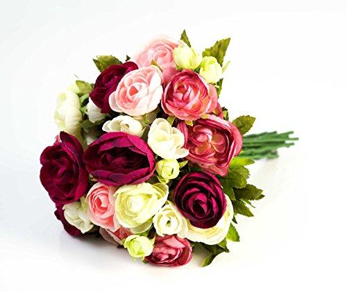 Set 2 x di mazzo di ranuncoli artificiale con 23 fiori, fucsia-rosa-bianco, 30 cm, Ø 25 cm - 2 pezzi di bouquet floreale / composizione di fiori artificiali - artplants