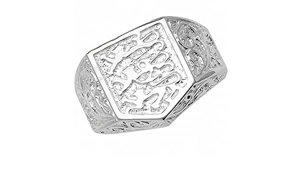 Mens Buckle Ring Heavy Solid Sterling Silver Patterned Gents Band