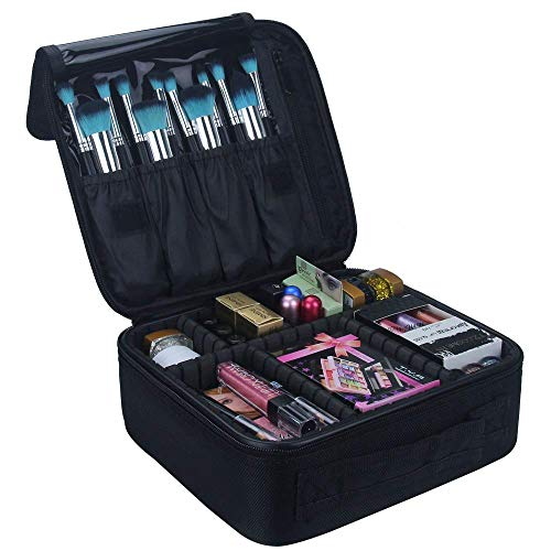 Travelmall Kosmetik Organizer-Professionelle Make-up Fall-Reise Make-up Werkzeuge Container (S-schwarz)
