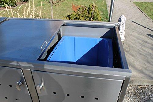 Resorti Mülltonnenbox Basic Edelstahl Kombi 2er 120 / 240 Liter - 5