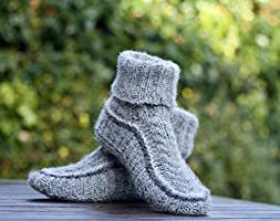 Knit slippers Wool Socks Grey Chunky Hand knitted Pure Shetland wool Super Warm Comfortable Unisex Women Men Personalised Handmade gift for her or him