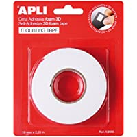 APLI 13986 - Cinta adhesiva foam doble cara (19 mm x 2,28 m) Blanco