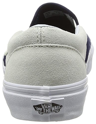 Vans Classic Slip-on, Sneakers Basses mixte adulte Multicolore (Suede/Woven navy blue/true white)