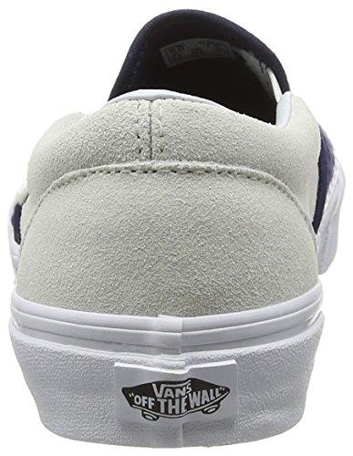 Vans Classic Slip-On, Scarpe da Ginnastica Basse Unisex-Adulto Nero (Suede/Woven navy blue/true white)