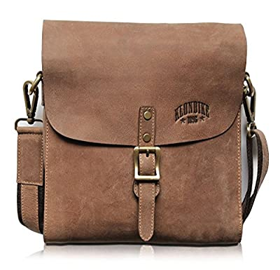 KLONDIKE 1896 Petite sacoche Brad en cuir véritable, sac à bandoulière de qualité au look vintage, marron
