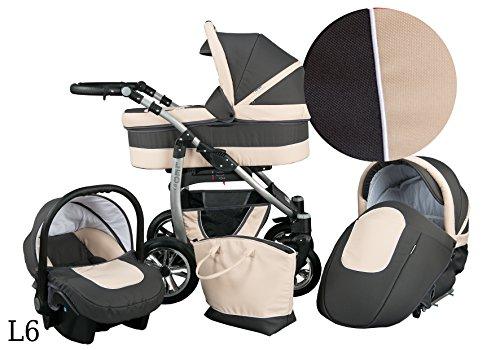 Kinderwagen Babywagen Kombikinderwagen Baby Merc LEO 3 in 1 Komplettset mit Zubehör 0-3 Jahre 0-15 kg Insektenschutz Netz Wickeltasche Regenschutz Getränkehalter Buggy Autositz (Beige- Grau)