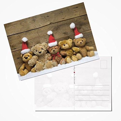 10 Stück Weihnachtspostkarten Set Postkarten rot weiß braun Holz-Optik rustikal TEDDY-BÄREN TEAM Santa 14,8 x 10,5 cm Karten klein Weihnachten 2018 -