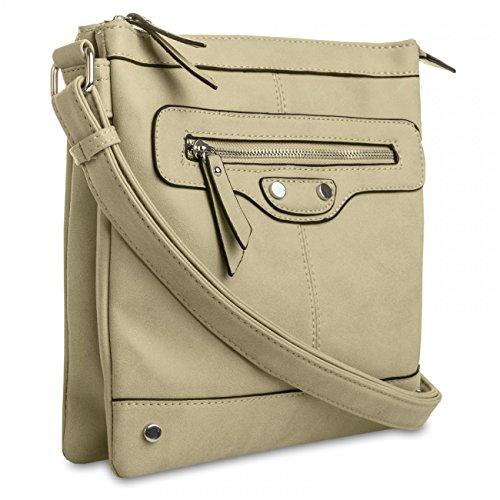 c6bd8b92991ef CASPAR Damen Umhänge Tasche AMELIE   Handtasche   Schultertasche   Messenger  Bag - TS920 sand