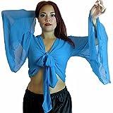 Bauchtanz-Kostüm Choli, geflügelter Arm, Tribal-Stil, Größe 38-52 bis XXXL Gr. UK 12/14-16, himmelblau