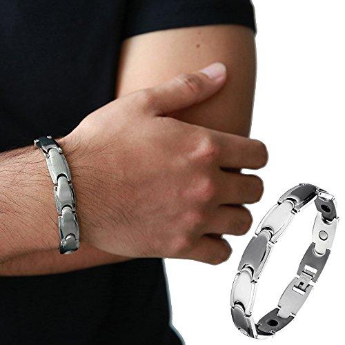 esclusivo-bracciale-uomo-acciaio-terapia-braccialetto-con-magneti-germanio-link-strumento-di-rimozio