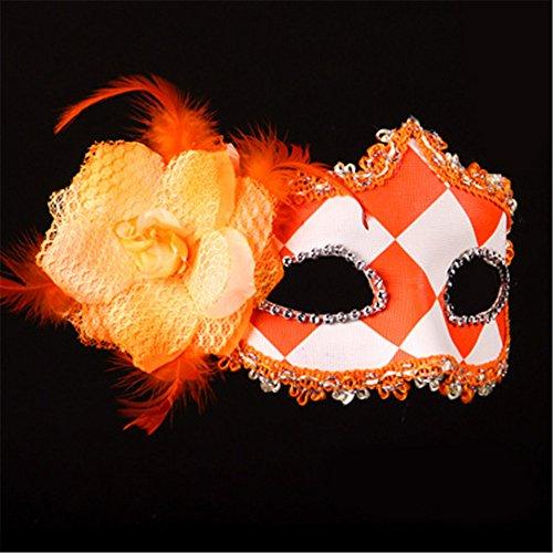 Halloween Maske Make-up Tanz Show Gemalte Federn Halbes Gesicht Schöne Prinzessin Masken,Orange