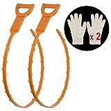Drain Cleaner 2 Stck + 2 Pay Handschuhe 20 Zoll Drain Abfluss Schlange Haare Drain Clog Remover mit Clog Entferner Reinigungs-Tool für Küche / Waschbecken / Badewanneungs-Tool für Küche / Waschbecken