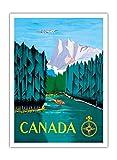 Pacifica Island Art Kanada - Holzstamm-Logging stromabwärts - Vintage Retro Fluggesellschaft Reise Plakat Poster von Jean Doré c.1951 - Premium 290gsm Giclée Kunstdruck - 30.5cm x 41cm