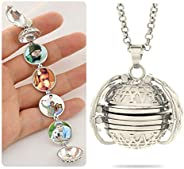 4 Photo Locket Necklace For Women Girls, Foonee Expanding Photo Locket Necklace Essential Oil Diffuser Necklac