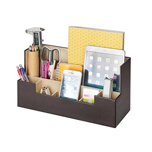JackCubeDesign Leder Schreibtisch Schreibwaren Organizer Zubehör Aufbewahrungsbox Case Caddy Tablett Cosmetic Display Halter Telefon Tablet Stand (Braun, 34 x 12,9 x 18 cm) -: MK268B Kinder-schreibtisch-telefon