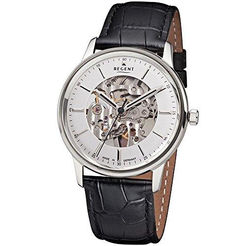 Regent Herren-Armbanduhr Analog Handaufzug One Size, weiß, schwarz