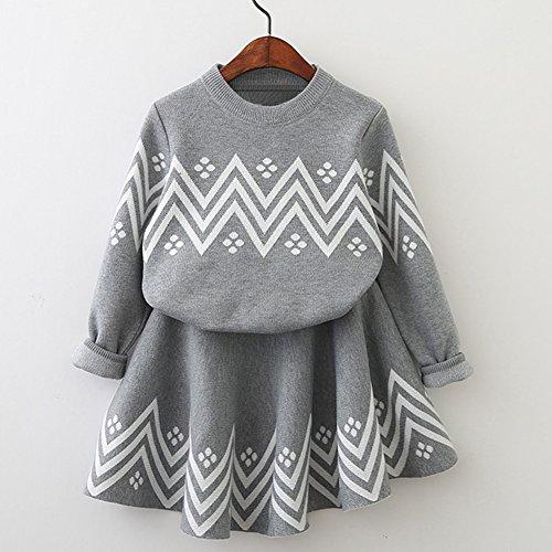 2PCS Motiv geometrische Kleid + Langarm oben Mantel Gemeinsam Warm Weich Baumwolle Mädchen Kleidung Kostüm, grau, - Soiree Halloween-idee