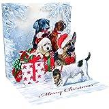 3D Weihnachtskarte für Weihnachtsgrüße (Format ca. 13 x 13 cm) - Weihnachtsmotiv mit Hunden