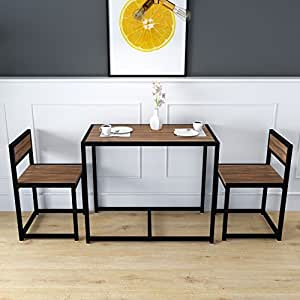 Cherry Tree Furniture Clive 3 Piece Dining Table Chairs Set In Walnut Colour With Black Steel