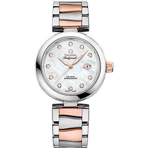 OMEGA Femme Bracelet Acier Inoxydable Boitier Or Rose Automatique Cadran Nacre Montre 425.20.34.20.55.004