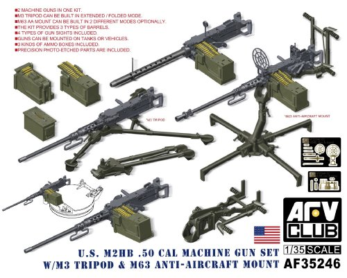 AFV Club 35246 M2HB 0 50cal Gun Set with M3 Tripod   M62 AA Mount 1 35 Plastic Kit