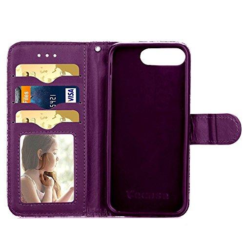 Wkae Case Cover iPhone Case 7 Plus, pretective Case motif léopard Impression couleur peinture Case PU cuir avec support pour Apple Wallet Fonction iPhone7 plus by DIEBELLEU ( Color : 5 , Size : Iphone 5