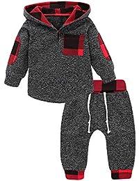 Chaqueta con Capucha para Bebé Niña Niño,Gusspower 2018 Sudadera Abrigo Estampado a Cuadros Invierno Ropa de Abrigo Caliente 0-36 Mes