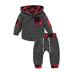 Idea Regalo - Elecenty Felpe per bambino Pullover con cappuccio in tartan da neonato per bebè 0.5~3 anni