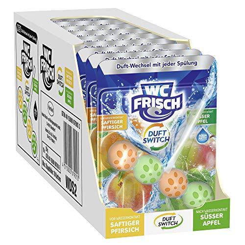 WC FRISCH Duft Switch Saftiger Pfirsich und Süßer Apfel, WC-Reiniger & Duftspüler, Duftwechsel, 10er Pack (10 x 1 Stück)