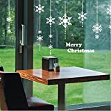 Natale Adesivi Display Rimovibile Fiocco di Neve Natale Addobbi Murali Fai da te Finestra Decorazione Vetrina Adesivi e murali da parete Sticker decorativi (2 fogli X 30 * 90cm) (Bianca)