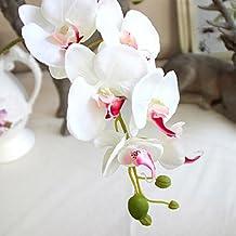 Babysbreath Seda artificiales phalaenopsis orquídea flor tallo ramillete fiesta decoración del jardín casero Blanco rosa