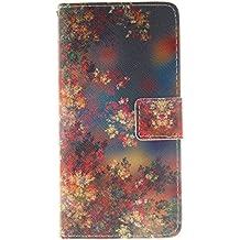 Funda para Huawei P8 Lite, Case Cover para Huawei P8 Lite, ISAKEN Cartera Fundas de PU Cuero Flip Standing Leather Wallet Case Cover Carcasa Funda con Ranura de Tarjeta Cierre Magnético y función de soporte para Huawei P8 Lite 5 Pulgadas (Flor Colors)