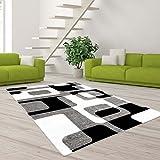 carpet city Teppich Hochwertig Modern Designer Moda Wohnzimmer Konturenschnitt Retro Muster Grau Creme Schwarz Größe 80/150 cm