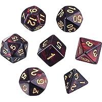 Polyedrische 7- Würfel- Set für Dungeons und Dragons mit Schwarz Beutel