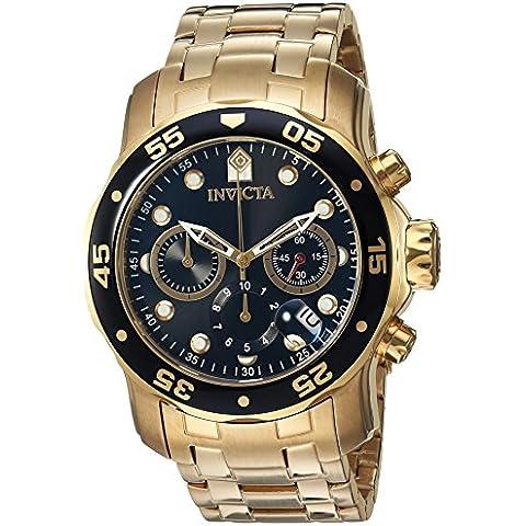 Invicta 0072 - Reloj de cuarzo para hombre, con correa de acero inoxidable, color dorado/negro