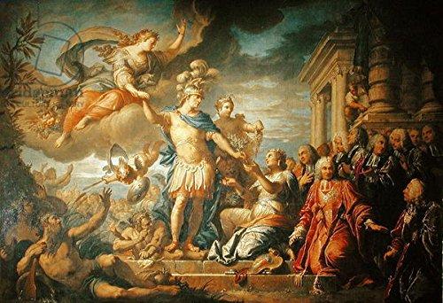 """Alu-Dibond-Bild 130 x 90 cm: """"Allegory of the Peace of Aix-la-Chapelle, 1761 (oil on canvas)"""", Bild auf Alu-Dibond"""