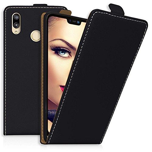 mtb more energy Flip-Case Tasche für Huawei P20 Lite (5.84'') | schwarz | Kunstleder | Klapp-Cover Hülle Case