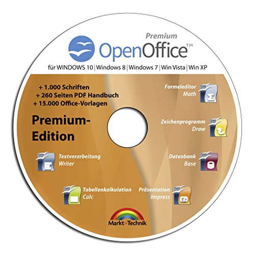 Open Office Premium Edition CD DVD 100{064c9928ad9331e95b3a6e0a266d412531c7a4d4ac383e133bb23ce8ce9a908b} kompatibel zu Microsoft® Word® und Excel® -für Windows 10-8-7-Vista-XP