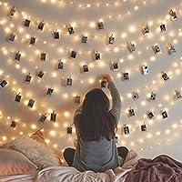 Pawaca 20 Luces de Cadena de Fotos LED, 3 m con batería de 9,8 pies para Colgar Fotos, Tarjetas, Notas, Regalo Ideal para decoración de Dormitorio (Blanco cálido)