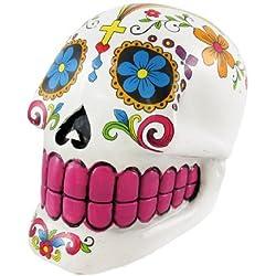 Sugar Skull Hucha con diseño de calavera de azúcar, color blanco