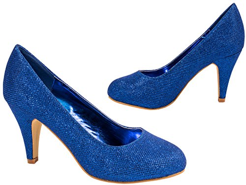 Elara Damen Pumps | Bequeme High Heels Glitzer | Hochzeit Stiletto Blau
