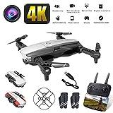LCZHP Mini Drone, Quadcopter de Poche Portable, Débit Optique de Drone 1080P 4K HD Double caméra Aérienne Vidéo RC Quadcopter Aéronef Positionnement Jouets Enfant,Noir,4Ksinglebattery